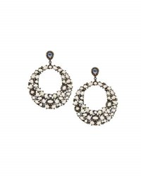 Bavna Round Moonstone And Diamond Drop Earrings