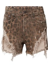 R 13 R13 Distressed Leopard Print Denim Shorts Leopard Print
