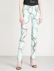 Versus By Versace Chain Print Skinny High Rise Jeans Mint Green