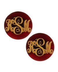 Providence Script Monogrammed Acrylic Stud Earrings Moon And Lola Red