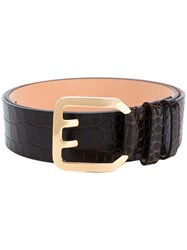 Dsquared2 Crocodile Embossed Belt Women Leather 90 Brown