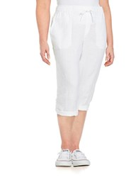 Lord And Taylor Plus Linen Capri Pants White