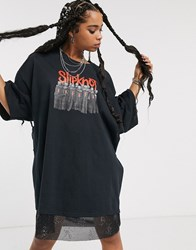 Milk It Vintage Oversized Tshirt Dress With Slipknot Graphic And Diamante Mesh Trim Black