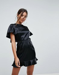 Lioness Mini Dress With Flutter Sleeve And Open Back Detail Black