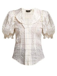Isabel Marant Abies Puff Sleeve Organza Blouse Ivory Multi