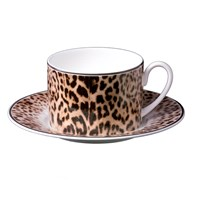 Roberto Cavalli Jaguar Teacups And Saucers Set Of 6