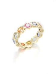 Temple St. Clair Classic Color Mixed Sapphire And 18K Yellow Gold Eternity Band Ring Gold Multicolor