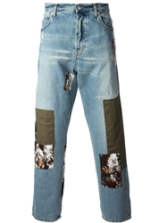 Mcq By Alexander Mcqueen Patched Loose Fit Jeans Blue