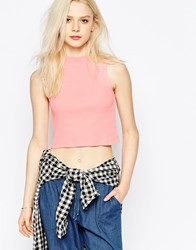 Brave Soul Cropped Sleeveless Turtle Neck Vest Top Peach Pink