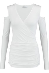 Bailey 44 Cutout Shoulder Wrap Effect Jersey Top Cream