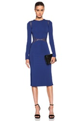 David Koma Macrame Long Sleeve Pencil Dress In Blue