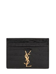 Saint Laurent Croc Embossed Leather Card Holder