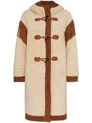 Philosophy Di Lorenzo Serafini Shoulder Fringe Shearling Coat Neutrals