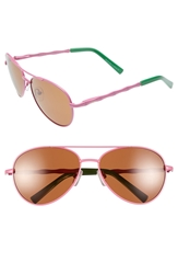 Lilly Pulitzer 'Amelia' 57Mm Polarized Aviator Sunglasses Hibiscus Pink Palm Green