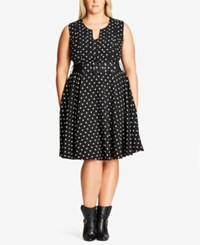 City Chic Plus Size Trendy Polka Dot Fit And Flare Dress Spot