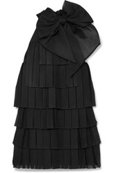 Balmain Bow Embellished Pleated Knitted Mini Dress Black