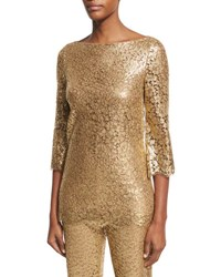Michael Kors Metallic Lace 3 4 Sleeve Tunic Gold
