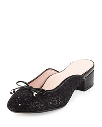 Taryn Rose Faigel Sequin Embellished Mule Black
