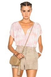 Raquel Allegra Shirred Combo Top In Pink Ombre And Tie Dye Pink Ombre And Tie Dye