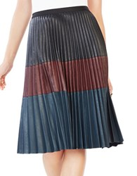 Bcbgmaxazria Faux Leather Pleated Midi Skirt Black