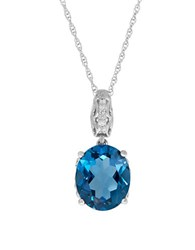 Lord And Taylor Blue Topaz 0.042 Tcw Diamond Silver Oval Pendant Necklace Sterling Silver
