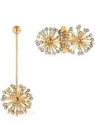Ca And Lou Flora Asymmetrical Earrings W Crystals Gold