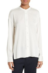 Vince Women's Pintuck Placket Stretch Silk Blouse White