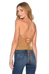 Bardot Paloma Knit Top Metallic Gold