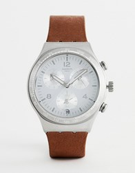 Swatch Ycs597 Irony Chronograph Leather Watch In Brown 40Mm