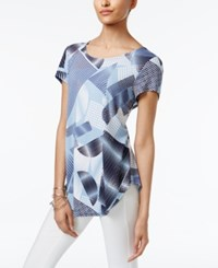 Alfani Printed T Shirt Only At Macy's Blue Optic Geometric Print