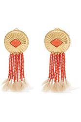 Aurelie Bidermann Gold Plated Coral And Feather Clip Earrings One Size
