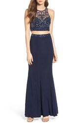 Sean Collection Women's Illusion Two Piece Gown
