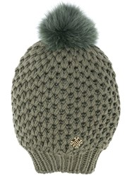 Mr And Mrs Italy Fur Pompom Knitted Beanie Green