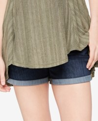 A Pea In The Pod Luxe Essentials Cuffed Denim Maternity Shorts Indigo Denim