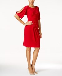 Connected Split Sleeve Faux Wrap Dress Red