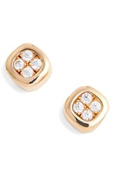 Lafonn Foursquare Simulated Diamond Earrings Silver Gold Clear