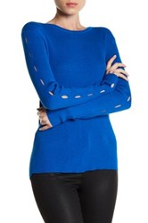 Cullen Rib Crew Cutout Sleeve Sweater Blue