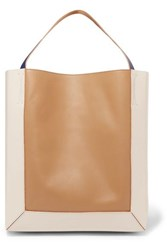Marni Frame Color Block Leather Tote Beige