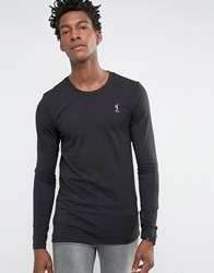 Religion Crew Neck Long Sleeve T Shirt In Muscle Fit Black