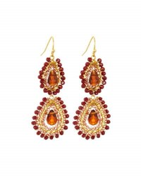 Nakamol Beaded Double Teardrop Earrings Red