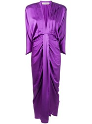 Nineminutes Shoulder Pad Draped Dress Purple