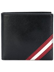 Bally Striped Billfold Wallet Men Calf Leather One Size Black