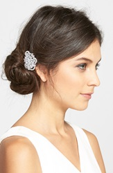 Nina Cubic Zirconia Cluster Hair Comb Silver