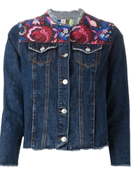 Msgm Floral Panel Denim Jacket Blue
