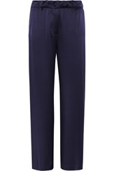 Elizabeth And James Gavin Silk Satin Wide Leg Pants Navy