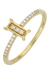 Bony Levy 18K Yellow Gold Pave Diamond Framed Stacking Ring 0.10 Ctw