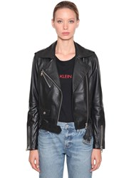 Calvin Klein Jeans Leather Biker Jacket Black