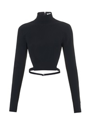 Thierry Mugler High Neck Cut Away Back Cady Top