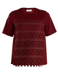 Muveil Star Embroidered Cotton Blend T Shirt Burgundy