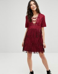 Raga The Wild West Fringe Dress Wine Red